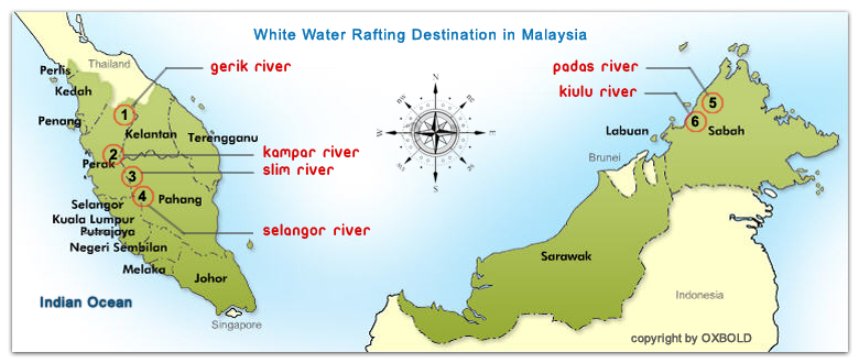 Map of White Water Rafting Destination Malaysia